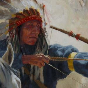 A Blackfeet warrior astride his horse