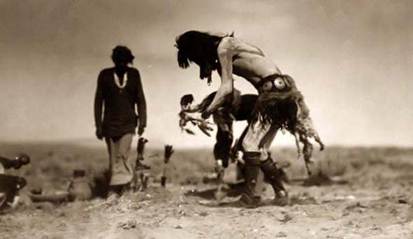 Navajo dancer performs a rain dance to combat dry conditions