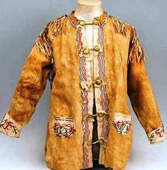 This is a replica of the beaded mens shirt worn within the Ojibwa-Chippewa tribe
